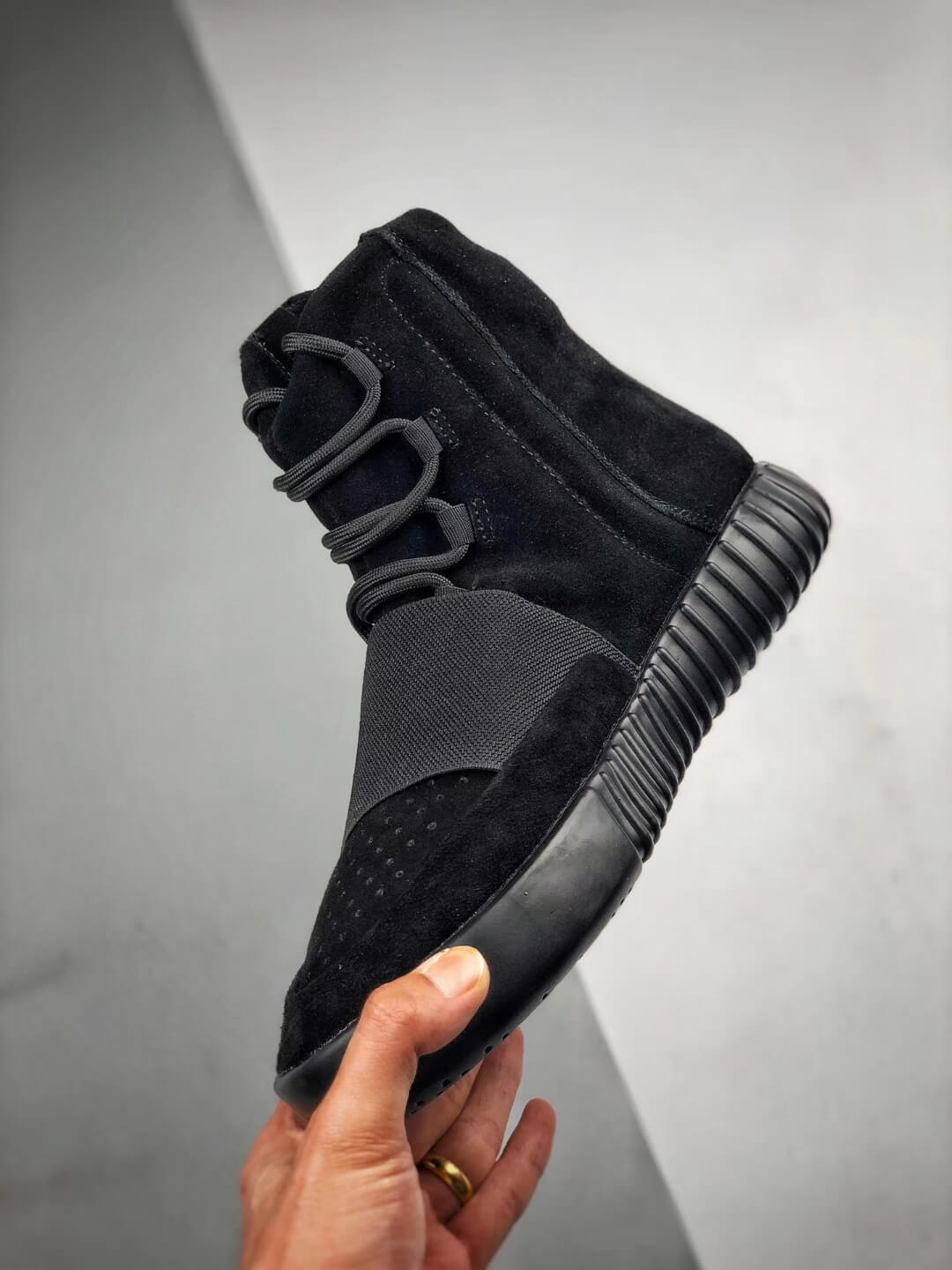 The Adidas Yeezy Boost 750 Triple Black Suede Quality Rep Sneaker 04