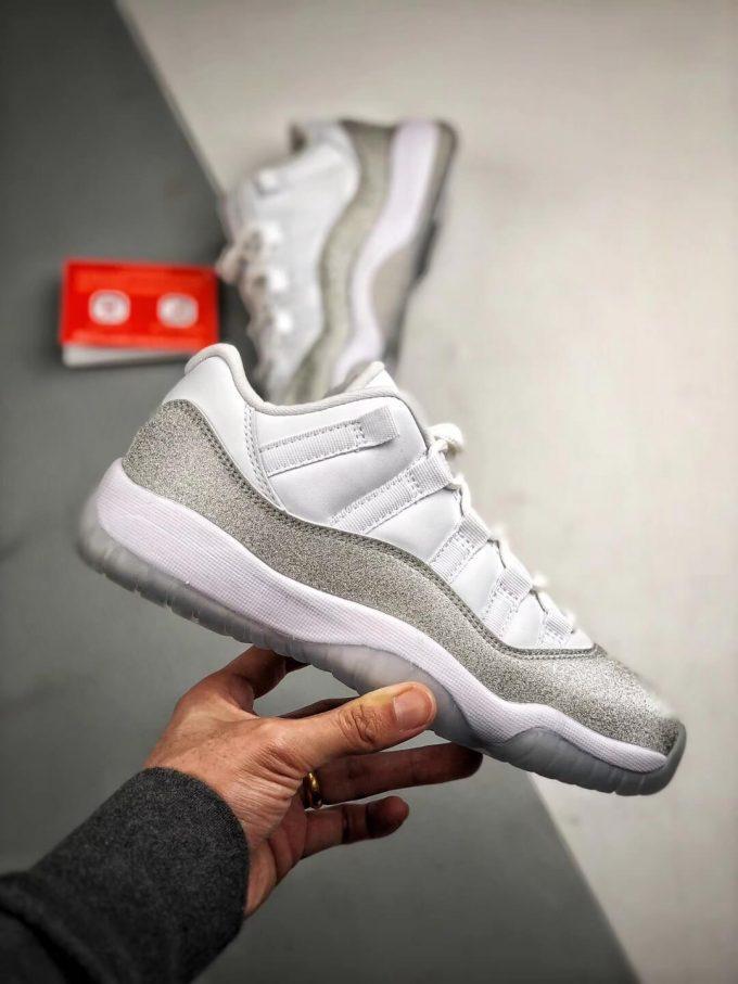 The Air Jordan 11 Retro Low Top White Metallic Silver Sneaker Best Clone Shoes 02
