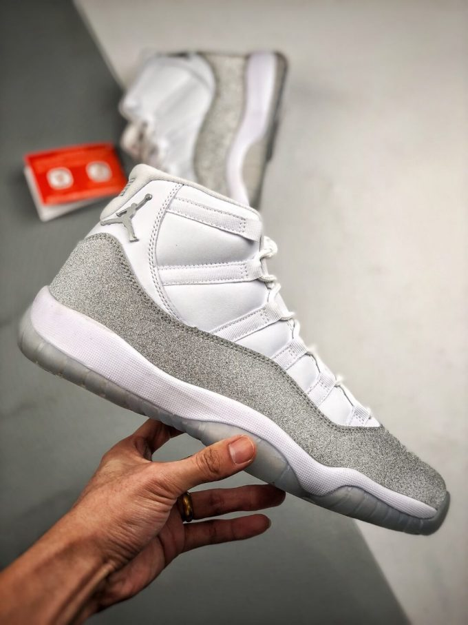 The Air Jordan 11 Retro White Metallic Silver Sneaker Gypsophila Best Clone Shoes 02
