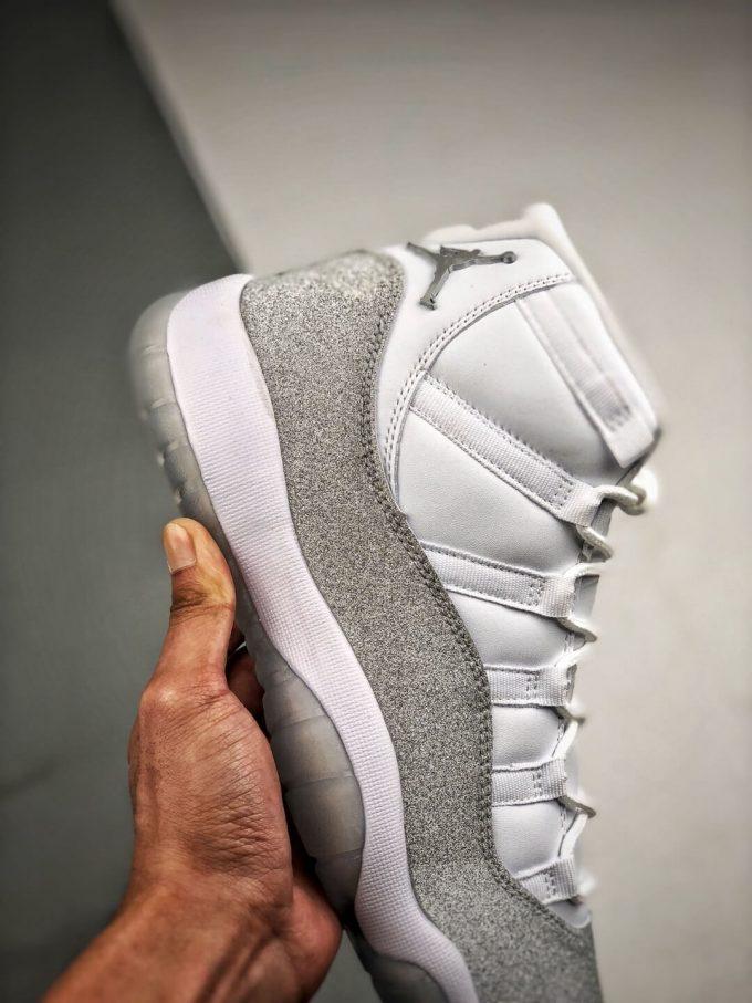 The Air Jordan 11 Retro White Metallic Silver Sneaker Gypsophila Best Clone Shoes 04
