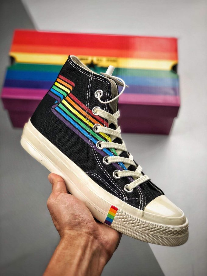 The Converse Chuck Taylor All Star 70S Pride Black Rainbow High Top Repshoes 01