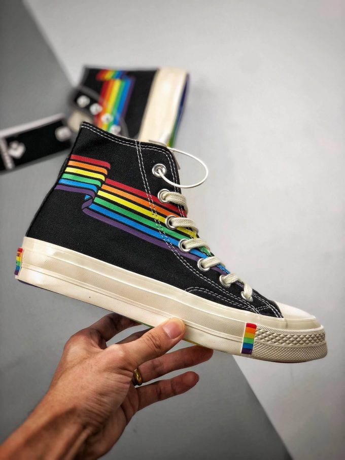 The Converse Chuck Taylor All Star 70S Pride Black Rainbow High Top Repshoes 02