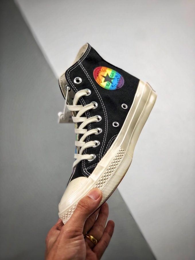 The Converse Chuck Taylor All Star 70S Pride Black Rainbow High Top Repshoes 04
