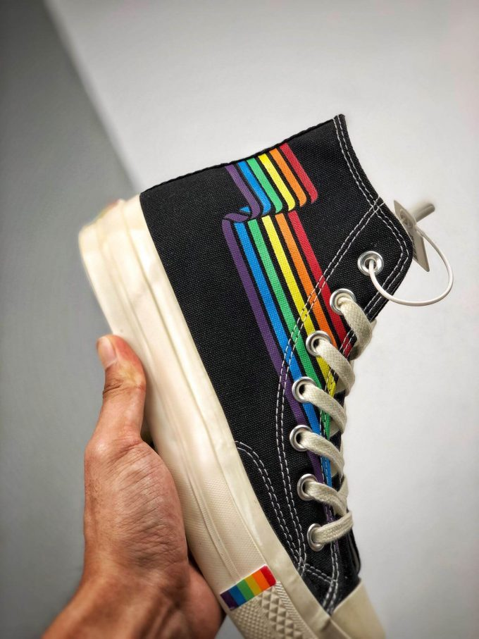 The Converse Chuck Taylor All Star 70S Pride Black Rainbow High Top Repshoes 05