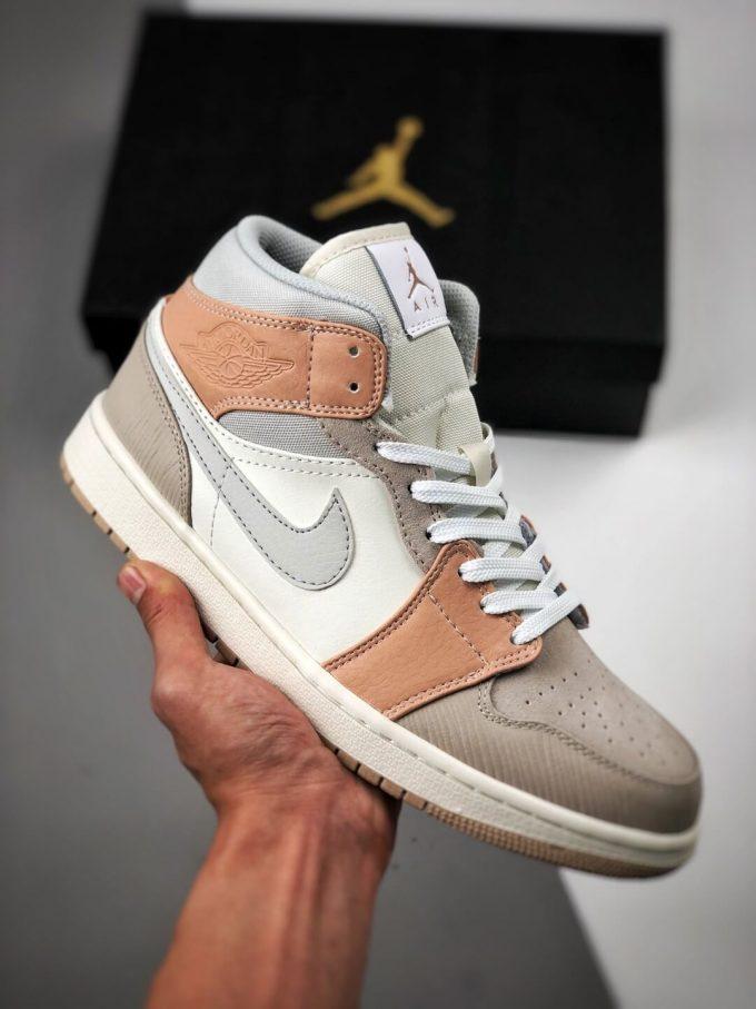 The Nike Air Jordan 1 Mid Milan City Pack Beige Leather Upper Tan Suede Toe Top Replica Sneakers 01