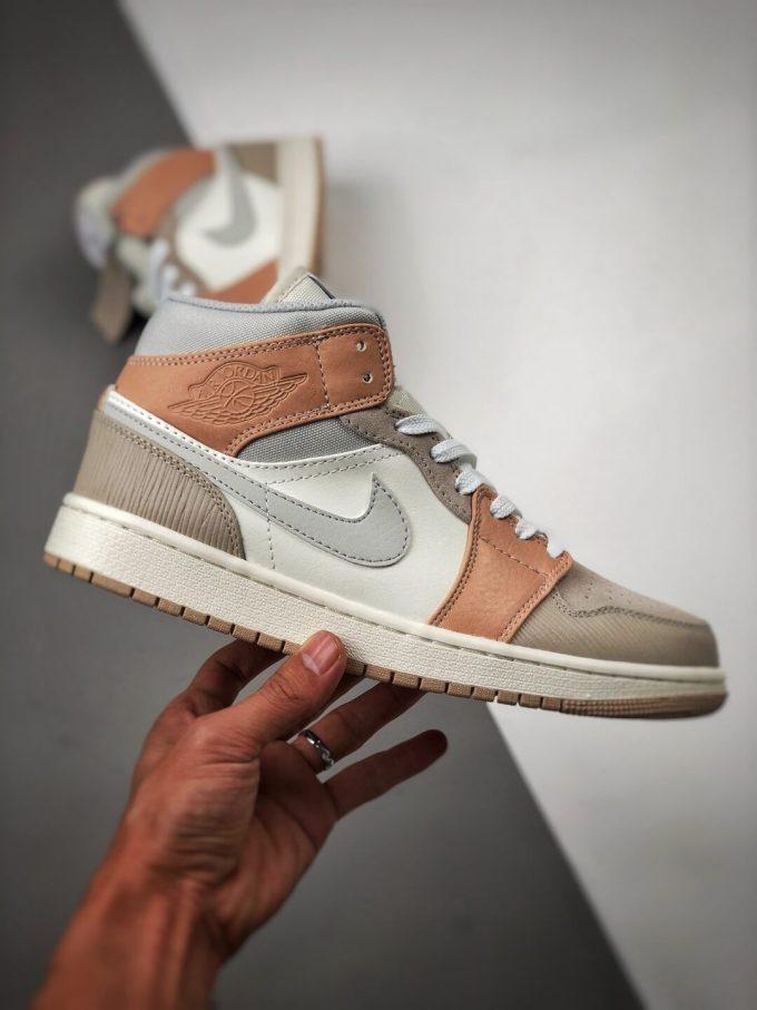 The Nike Air Jordan 1 Mid Milan City Pack Beige Leather Upper Tan Suede Toe Top Replica Sneakers 02