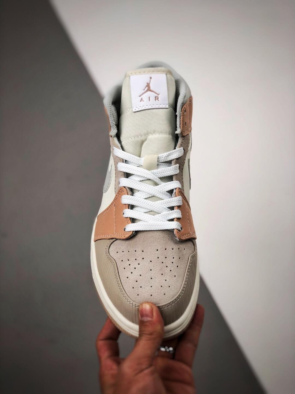 The Nike Air Jordan 1 Mid Milan City Pack Beige Leather Upper Tan Suede Toe Top Replica Sneakers 03