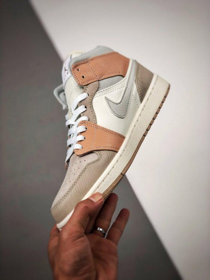 The Nike Air Jordan 1 Mid Milan City Pack Beige Leather Upper Tan Suede Toe Top Replica Sneakers 04