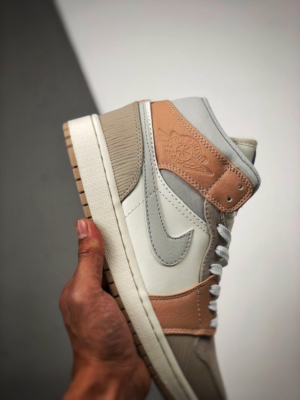 The Nike Air Jordan 1 Mid Milan City Pack Beige Leather Upper Tan Suede Toe Top Replica Sneakers 05