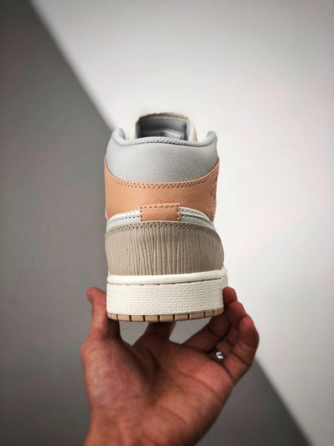 The Nike Air Jordan 1 Mid Milan City Pack Beige Leather Upper Tan Suede Toe Top Replica Sneakers 07