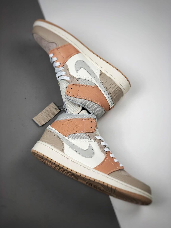 The Nike Air Jordan 1 Mid Milan City Pack Beige Leather Upper Tan Suede Toe Top Replica Sneakers 08