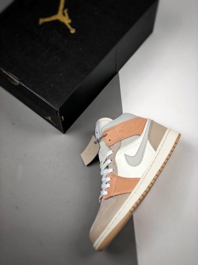 The Nike Air Jordan 1 Mid Milan City Pack Beige Leather Upper Tan Suede Toe Top Replica Sneakers 09