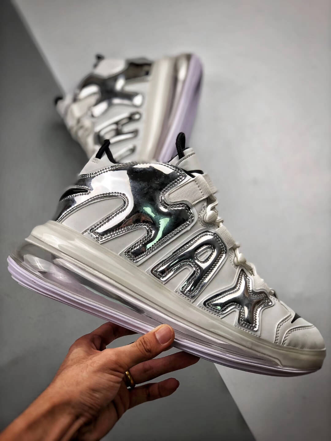 The Nike Air More Uptempo 720 QS 1 White Chrome Black Basketball Sneaker Air Max 720 Repshoes 02