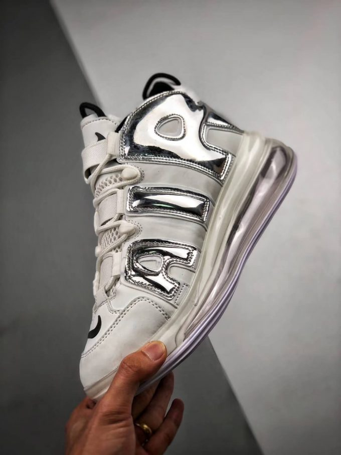The Nike Air More Uptempo 720 QS 1 White Chrome Black Basketball Sneaker Air Max 720 Repshoes 04