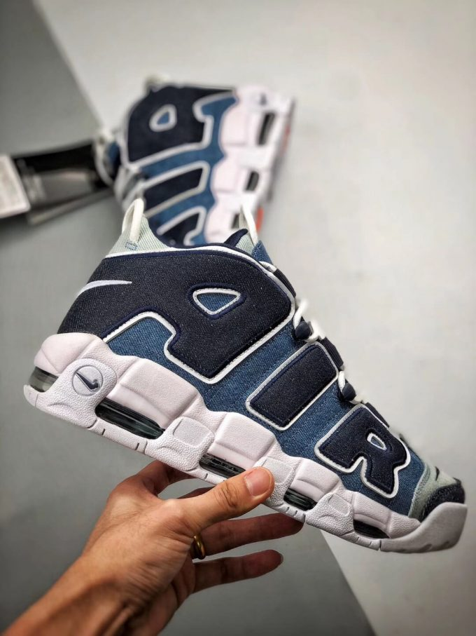 The Nike Air More Uptempo 96 Denim Sneaker Blue jean Fabric Style Large AIR Scottie Pippen Repshoes 02