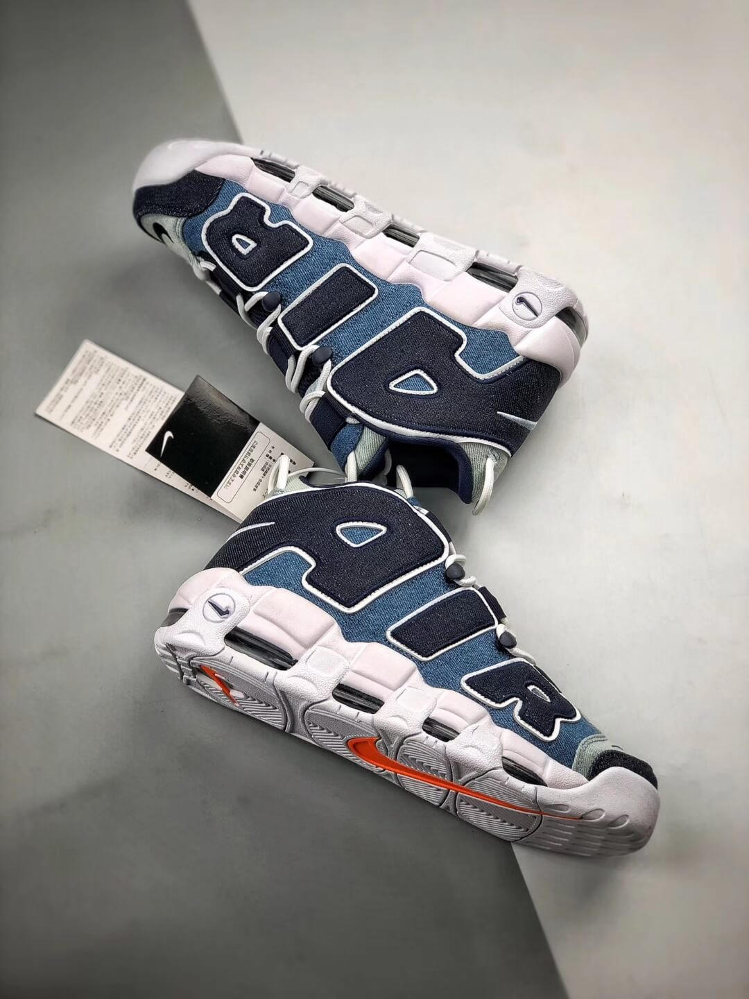 The Nike Air More Uptempo 96 Denim Sneaker Blue jean Fabric Style Large AIR Scottie Pippen Repshoes 08