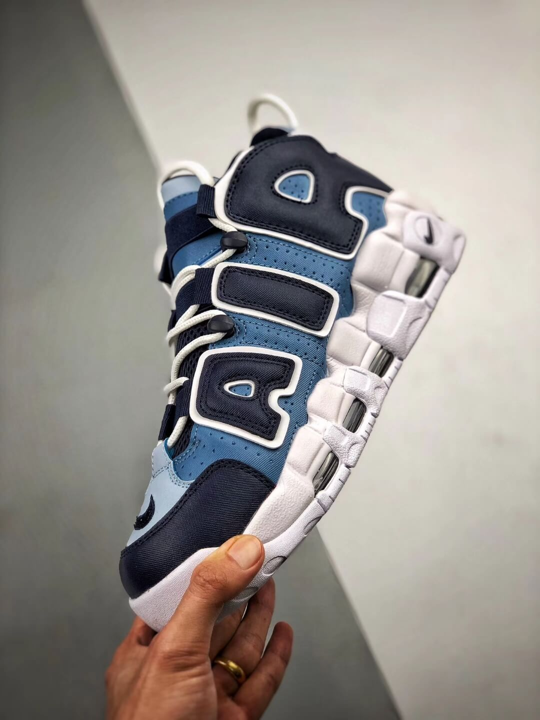 The Nike Air More Uptempo BP Denim Sneaker Blue jean Fabric Style Large AIR Scottie Pippen Rep Sneakers 04