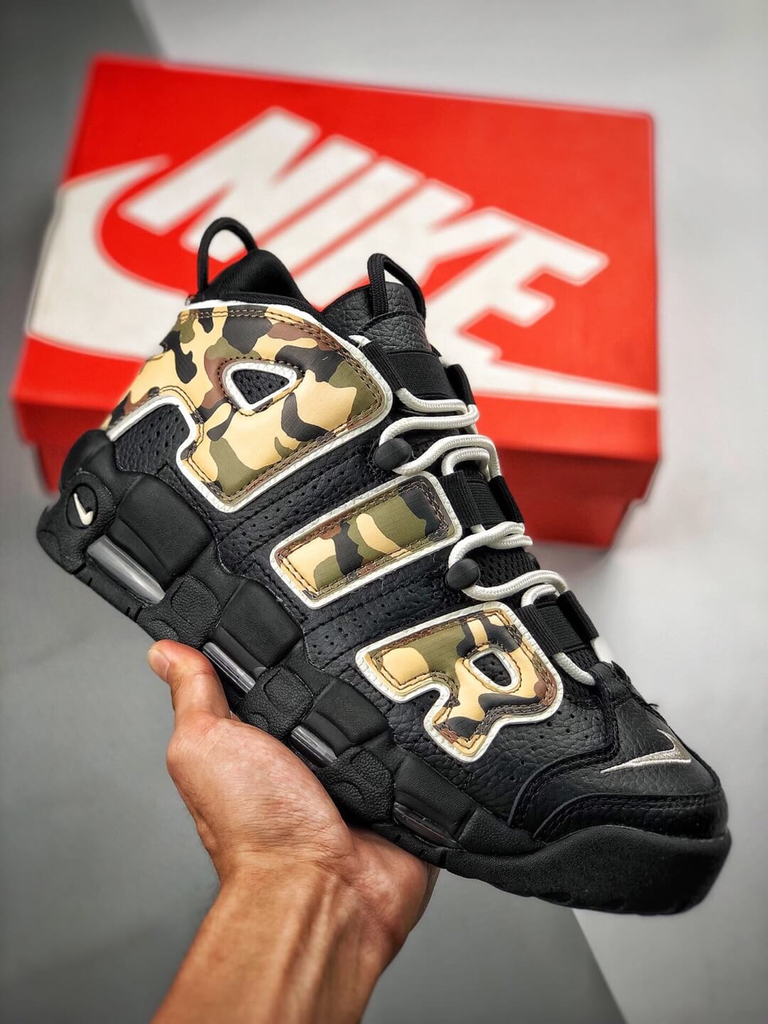 The Nike Air More Uptempo Camo Basketball Sneaker Premium Tumbled Leather Upper Top Replica Sports Shoes 01