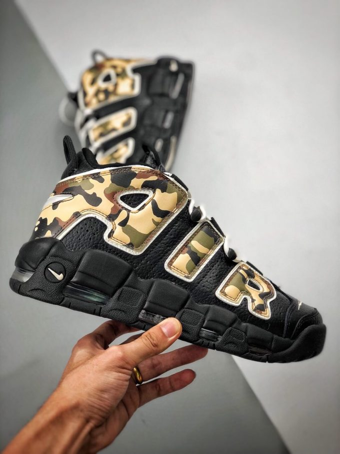 The Nike Air More Uptempo Camo Basketball Sneaker Premium Tumbled Leather Upper Top Replica Sports Shoes 02
