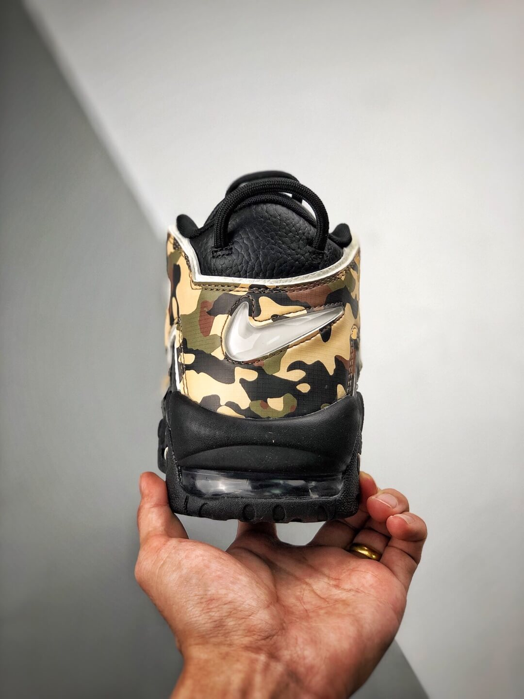 The Nike Air More Uptempo Camo Basketball Sneaker Premium Tumbled Leather Upper Top Replica Sports Shoes 07