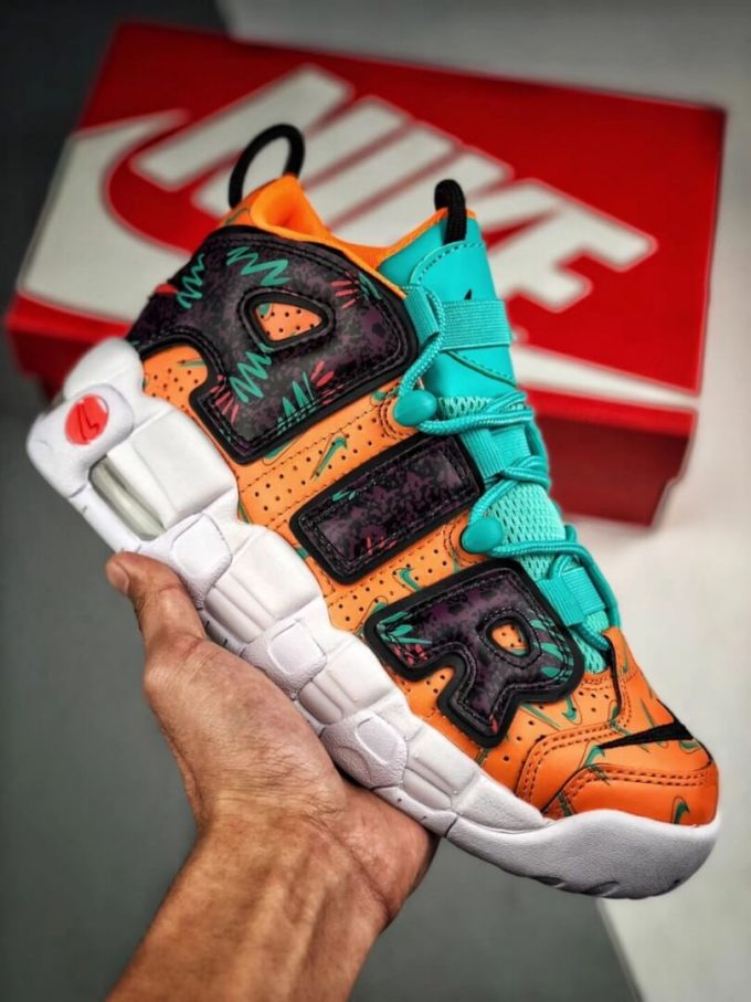 The Nike Air More Uptempo GS What The 90s Sneaker Orang Turquoise Purple Synthetic Upper Repshoes 01