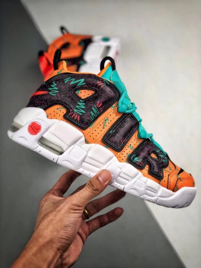 The Nike Air More Uptempo GS What The 90s Sneaker Orang Turquoise Purple Synthetic Upper Repshoes 02