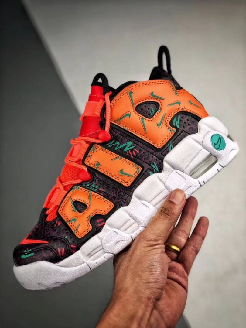 The Nike Air More Uptempo GS What The 90s Sneaker Orang Turquoise Purple Synthetic Upper Repshoes 04