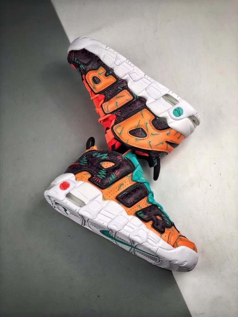 The Nike Air More Uptempo GS What The 90s Sneaker Orang Turquoise Purple Synthetic Upper Repshoes 08