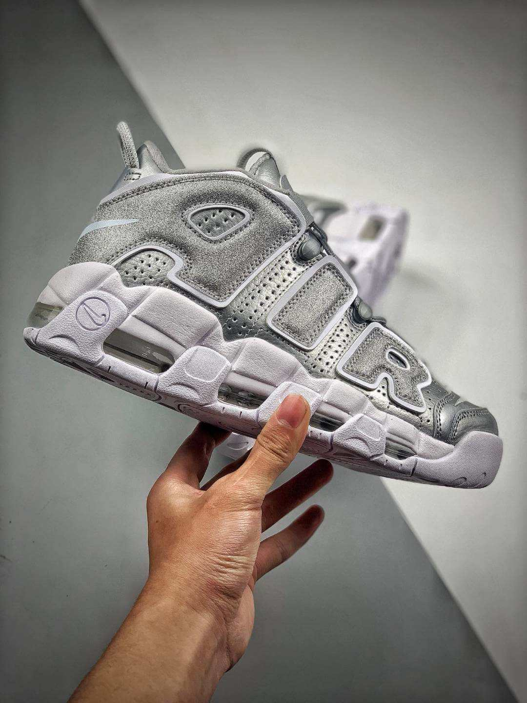 The Nike Air More Uptempo Loud and Clear Basketball Shoes Metallic Silver Leather Upper Quality RepSneaker 02