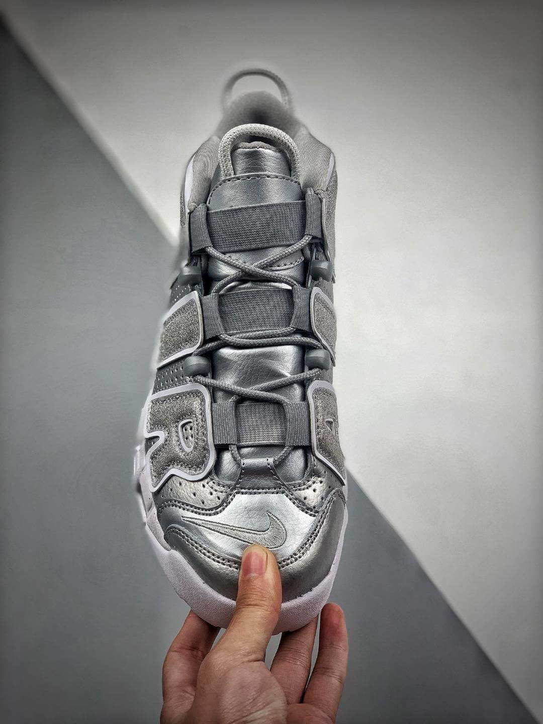 The Nike Air More Uptempo Loud and Clear Basketball Shoes Metallic Silver Leather Upper Quality RepSneaker 03