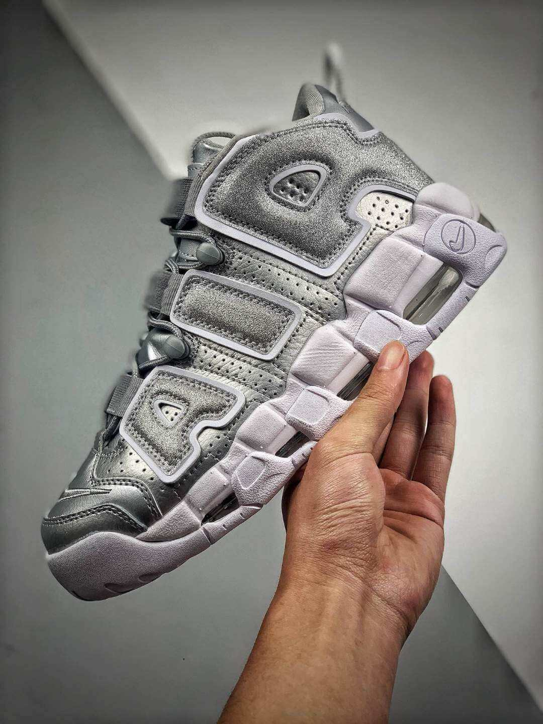 The Nike Air More Uptempo Loud and Clear Basketball Shoes Metallic Silver Leather Upper Quality RepSneaker 04