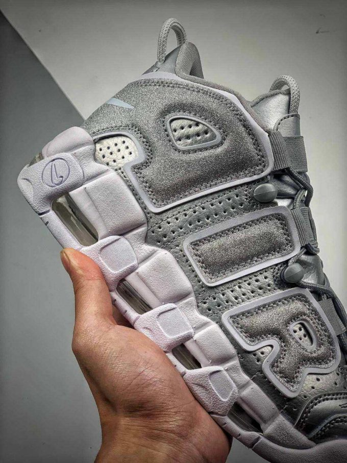 The Nike Air More Uptempo Loud and Clear Basketball Shoes Metallic Silver Leather Upper Quality RepSneaker 05