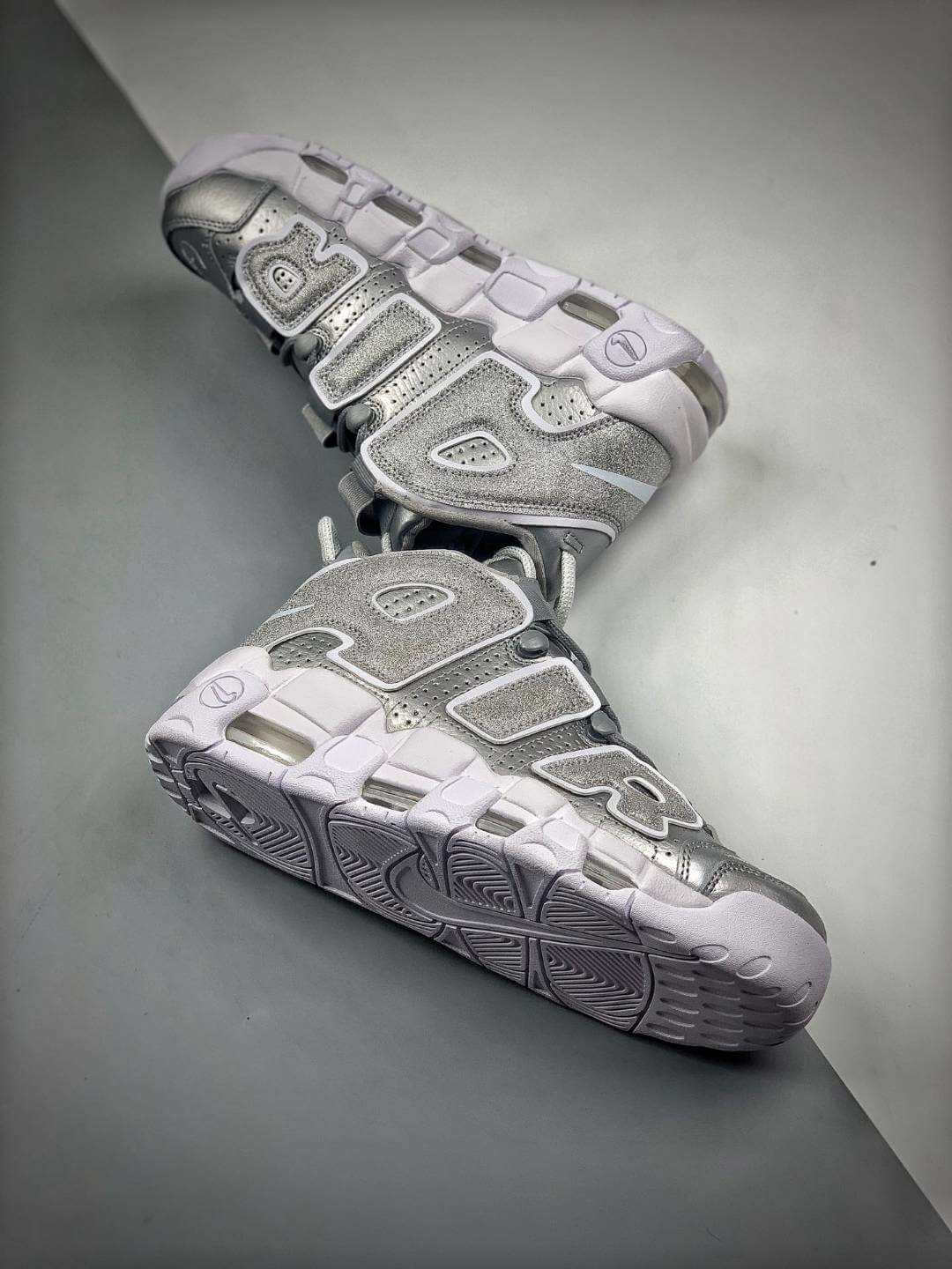 The Nike Air More Uptempo Loud and Clear Basketball Shoes Metallic Silver Leather Upper Quality RepSneaker 08