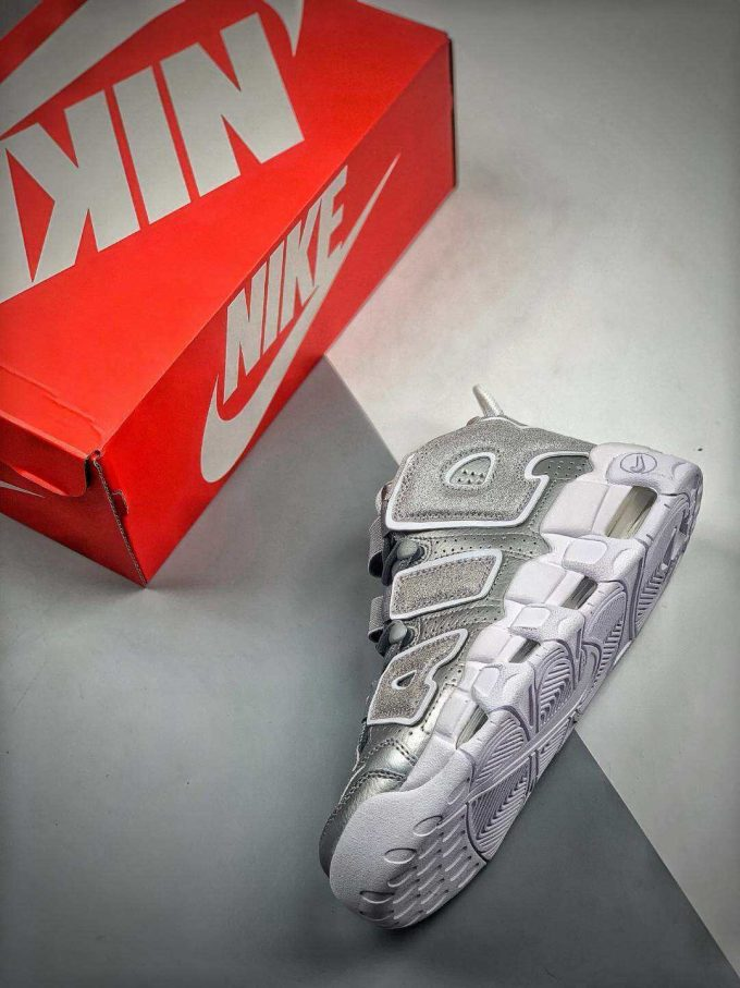 The Nike Air More Uptempo Loud and Clear Basketball Shoes Metallic Silver Leather Upper Quality RepSneaker 09