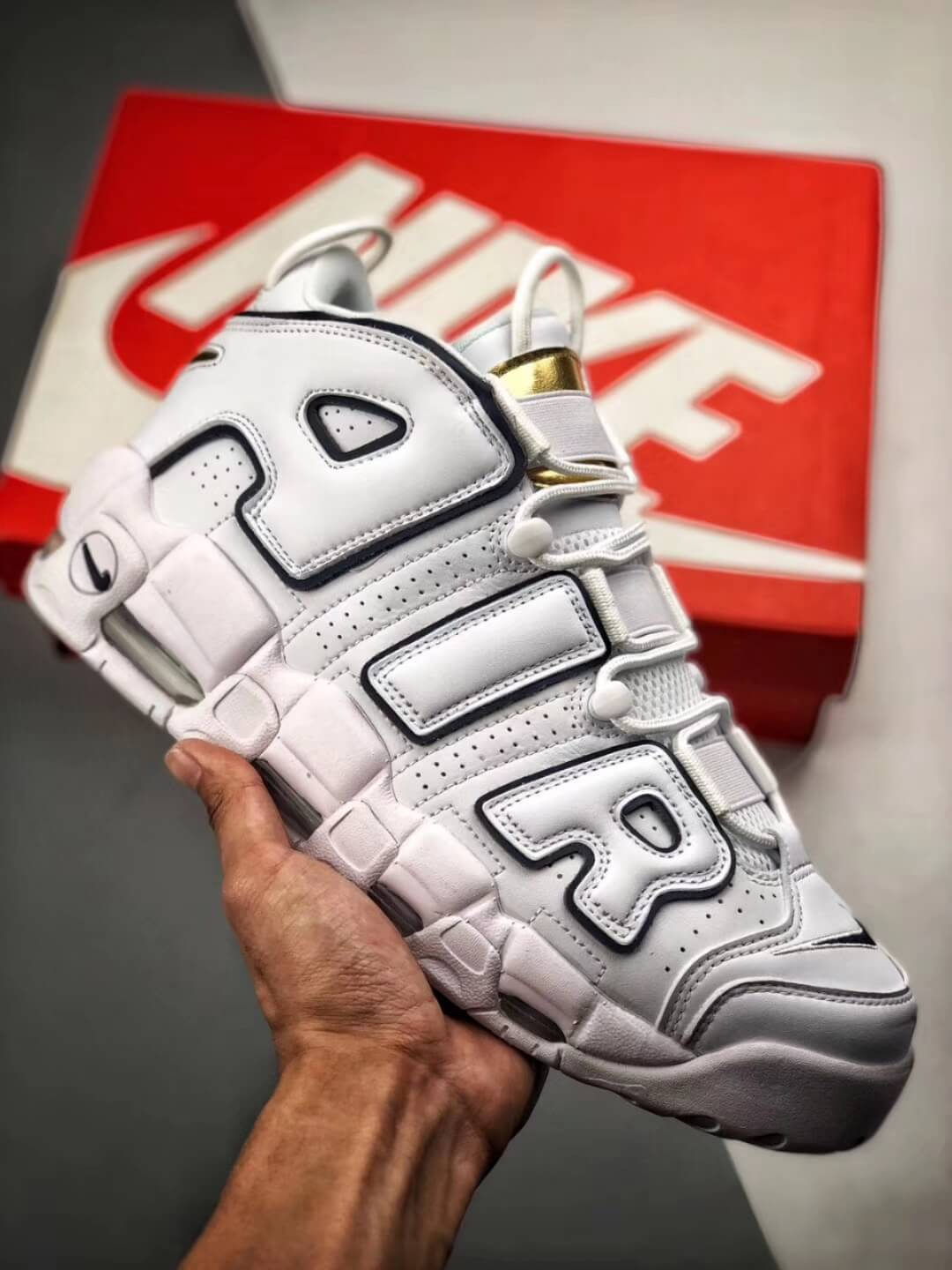 The Nike Air More Uptempo Midnight Navy Basketball Shoes Navy Fringe Gold Tongue Fake Sneakers 01