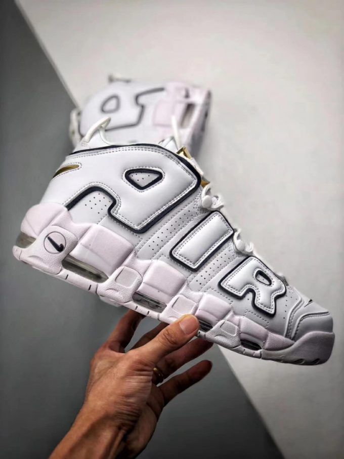 The Nike Air More Uptempo Midnight Navy Basketball Shoes Navy Fringe Gold Tongue Fake Sneakers 02