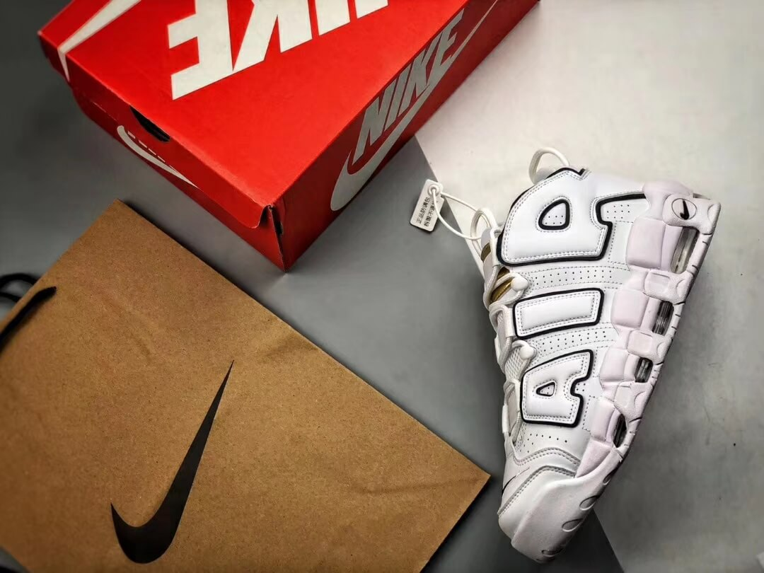 The Nike Air More Uptempo Midnight Navy Basketball Shoes Navy Fringe Gold Tongue Fake Sneakers 09