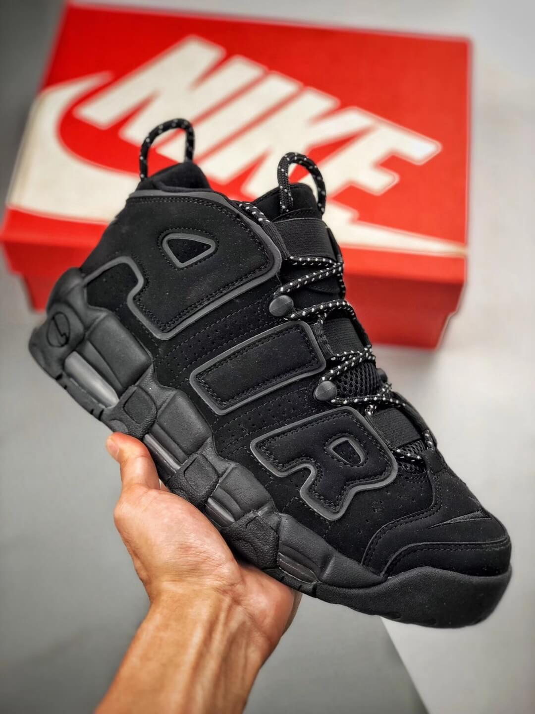 The Nike Air More Uptempo Reflective All black Nubuck Upper 3M Reflective Rep Bastketball Shoes 01