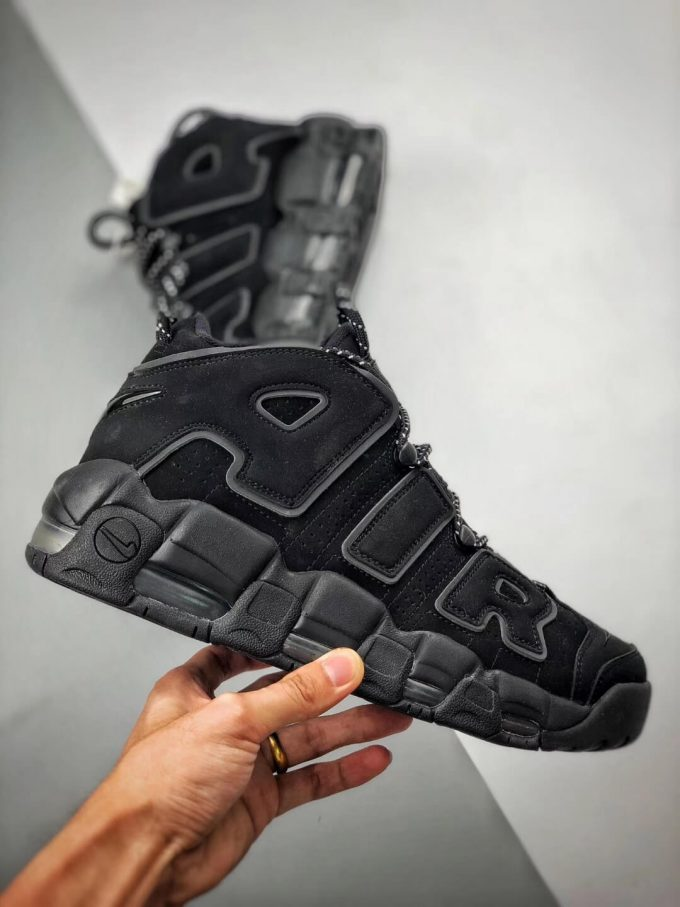 The Nike Air More Uptempo Reflective All black Nubuck Upper 3M Reflective Rep Bastketball Shoes 02