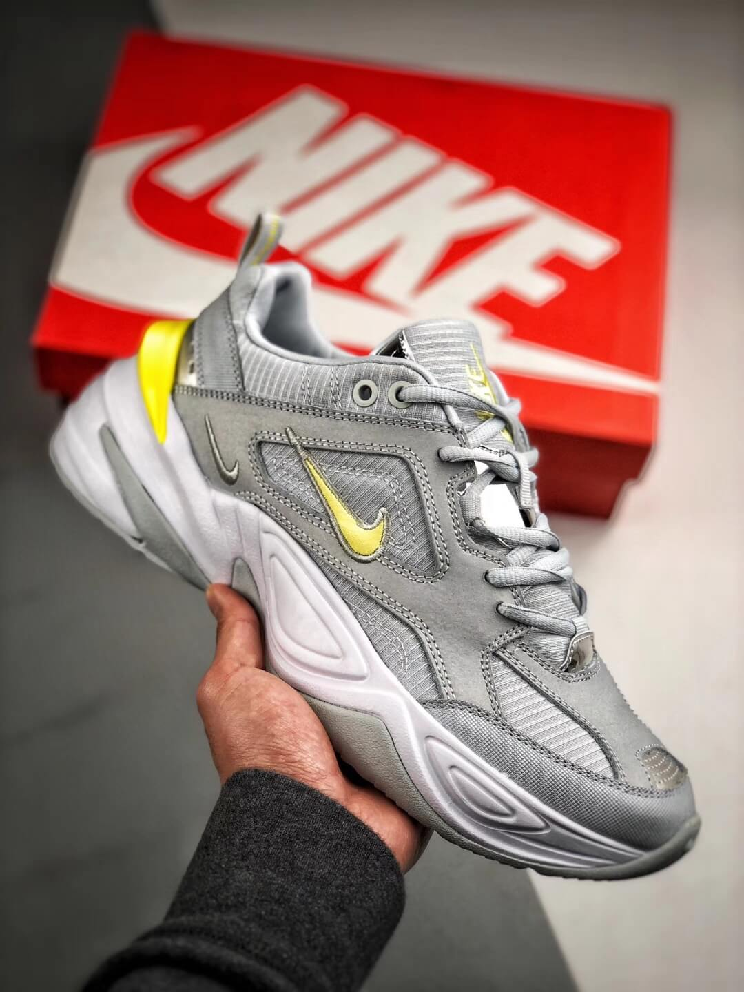The Nike M2K Tekno Pure Platinum Grey Dynamic Yellow Logo CN0153 001 Quality RepSneaker 01