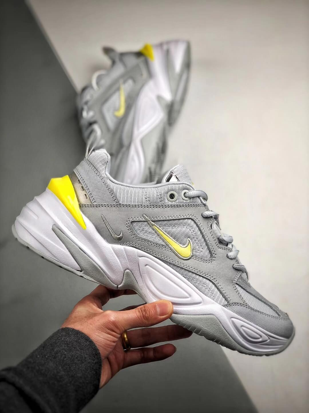 The Nike M2K Tekno Pure Platinum Grey Dynamic Yellow Logo CN0153 001 Quality RepSneaker 02