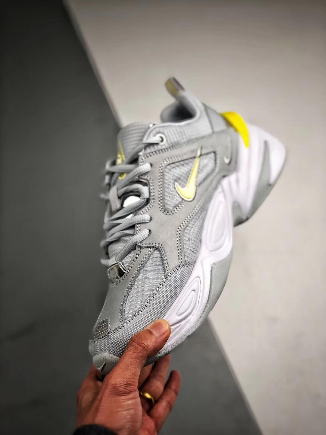 The Nike M2K Tekno Pure Platinum Grey Dynamic Yellow Logo CN0153 001 Quality RepSneaker 04