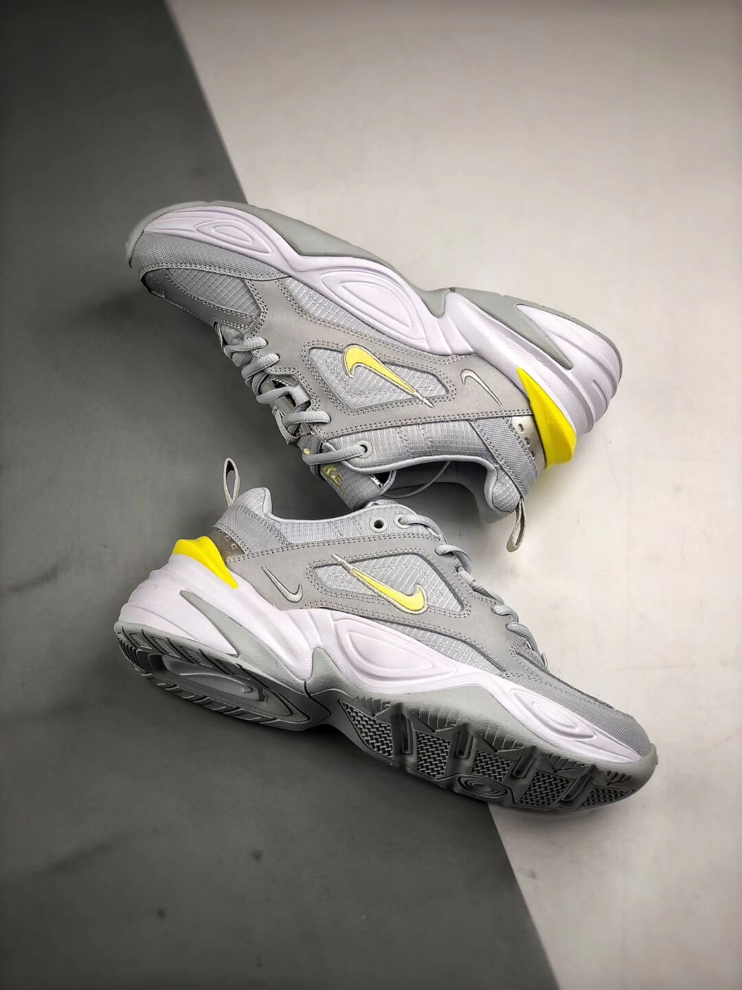 The Nike M2K Tekno Pure Platinum Grey Dynamic Yellow Logo CN0153 001 Quality RepSneaker 08