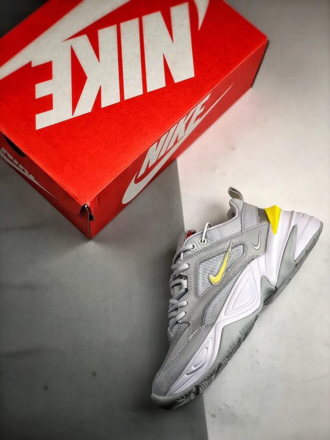 The Nike M2K Tekno Pure Platinum Grey Dynamic Yellow Logo CN0153 001 Quality RepSneaker 09