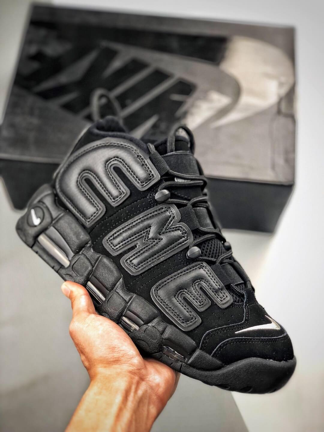 The Nike Supreme x Air More Uptempo Black Basketball Shoes Premium Suede Upper Rep Sneakers 01