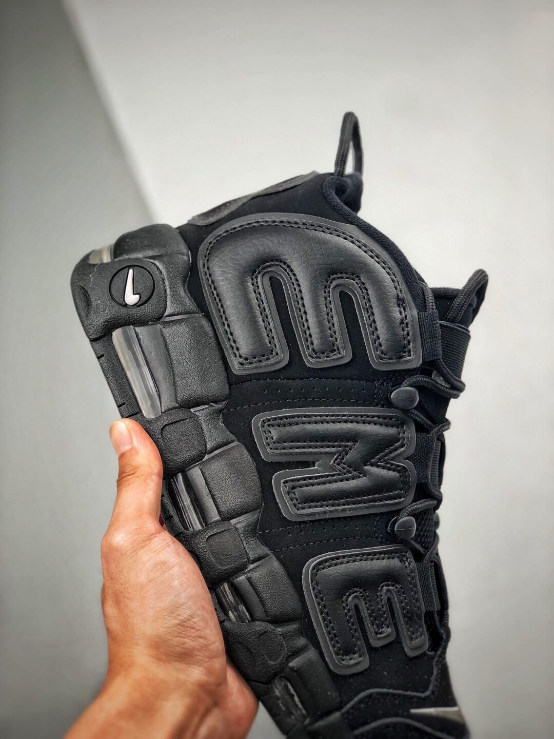The Nike Supreme x Air More Uptempo Black Basketball Shoes Premium Suede Upper Rep Sneakers 05