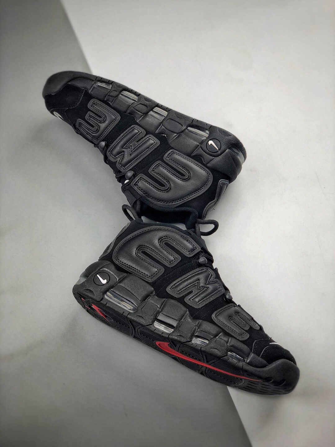The Nike Supreme x Air More Uptempo Black Basketball Shoes Premium Suede Upper Rep Sneakers 08
