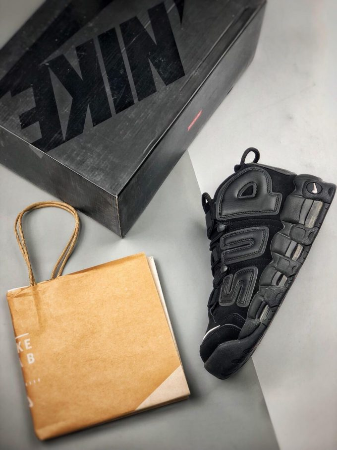 The Nike Supreme x Air More Uptempo Black Basketball Shoes Premium Suede Upper Rep Sneakers 09