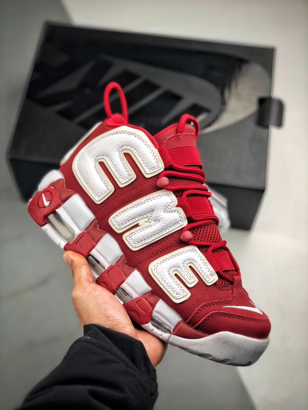 The Supreme x Air More Uptempo Red