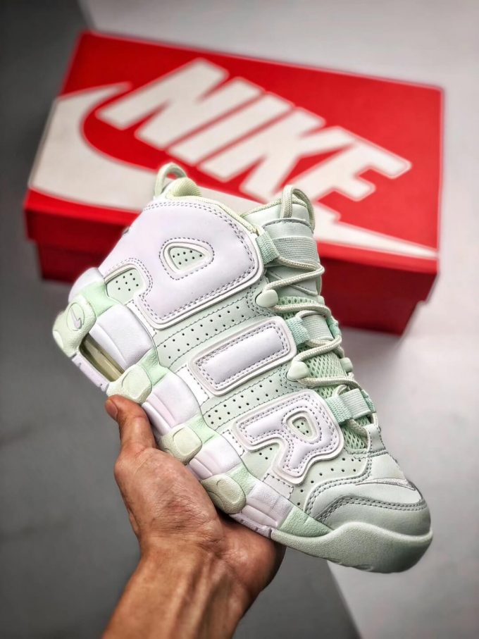The Nike Wmns Air More Uptempo Barely Green Basketball Shoes Womens Athletic Rep Sneakers 01